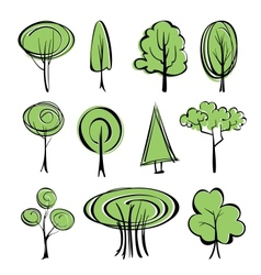 abstract trees sketch set vector image vector image