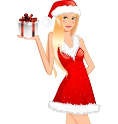 chrstmas card girl in a hat vector image