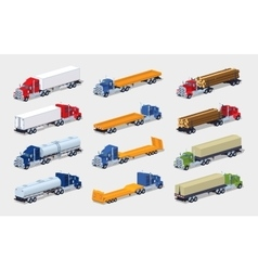 Collection of heavy trucks with semitrailers vector image