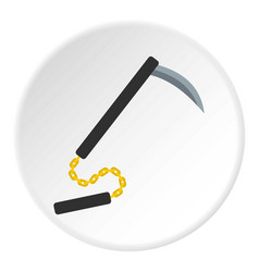 kusarigama japanese weapon icon circle vector image vector image