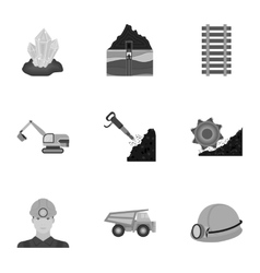 Mine set icons in monochrome style big collection vector