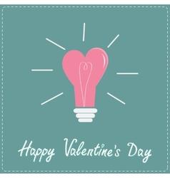 Pink light bulb in shape of heart Flat design vector image vector image