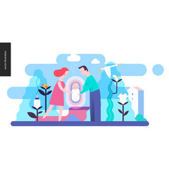 reproduction - a family with a baby vector image