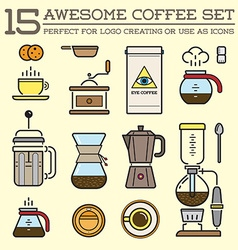 Set of Coffee Elements and Coffee Accessories can vector image
