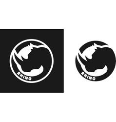 Silhouette of an rhino monochrome logo vector image vector image