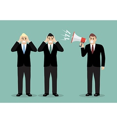 Angry boss screaming to businessmen vector image vector image