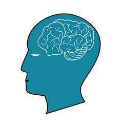 blue profile head brain idea vector image