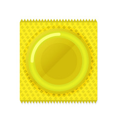Condom plastic package in flat style vector