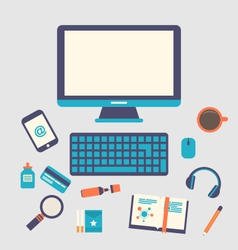 creative office workspace workplace of a designer vector image vector image