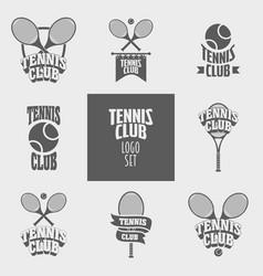 set of tennis club logos badges or labels design vector image vector image
