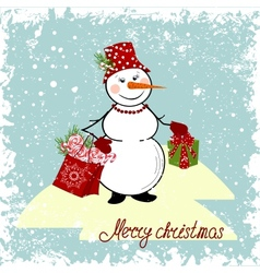 Christmas card with a snowman and gifts vector image