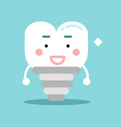 Happy healthy cartoon tooth implant character vector