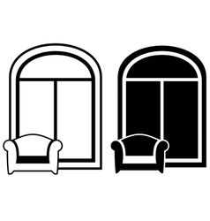 set of armchair and window silhouette vector image vector image