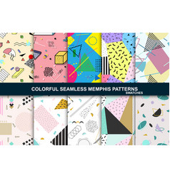 collection of abstract seamless patterns retro vector image vector image