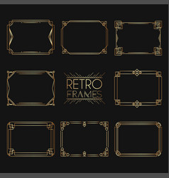 gold retro frames style of 1920s collection of vector image