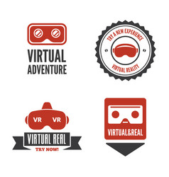 isolated vr headset logotype set virtual reality vector image vector image