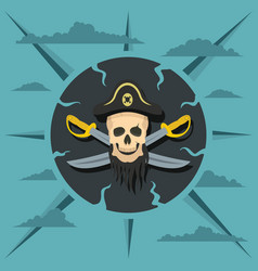 pirate skull and crossed sabers vector image