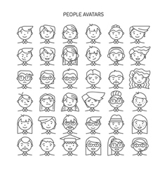 Set wth thin line icon of people stylish avatars vector image
