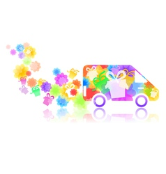 symbol of a truck with a gift box vector image