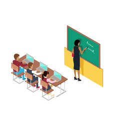 teacher writing on blackboard and pupils at desks vector image