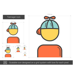 Teenager line icon vector
