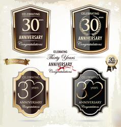 30 years Anniversary labels vector