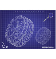 3d model of wheels on a blue vector image