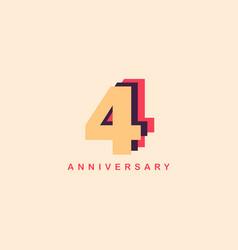4 years anniversary template design vector