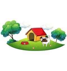 A bulldog outside its dog house vector image