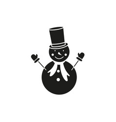 a snowman in the outline black icon winter vector image