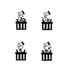 add to shopping cart icon set vector image