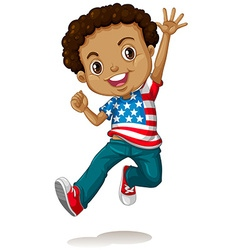 African american boy jumping vector