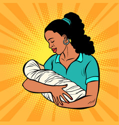 african mother with newborn woman and child vector image
