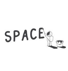 Astronaut artist writes word space vector