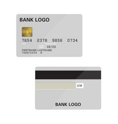 bank card grey mockup teplate isolated with text vector image