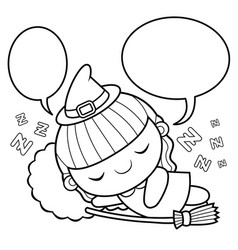Black and white witch mascot sleeps halloween day vector