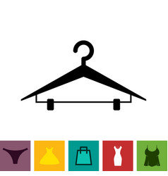 black clothes hanger icon on white background vector image