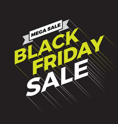 black friday sale typography banner background vector image