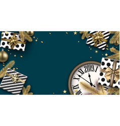 Blue 2019 new year background with gifts and clock vector