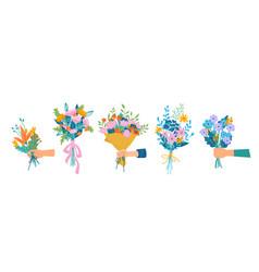 Bouquets in hands florist floral composition vector