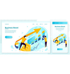 business boost rising arrow with charts vector image