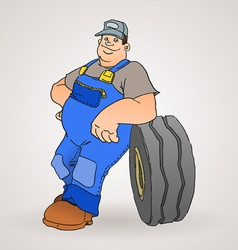 Car mechanic with tyre vector
