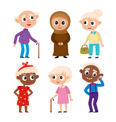 Cartoon european muslim and african old people vector