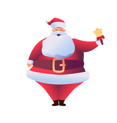 cartoon santa claus holding golden bell vector image
