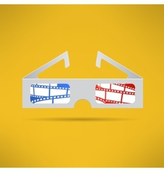 Cinema 3d glasses with footage tape inside Modern vector