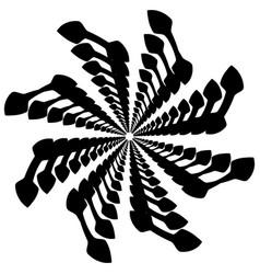 Circular rotating spiral vortex element motif vector