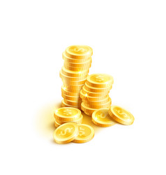 Coins pile icon of golden dollar coin cents vector
