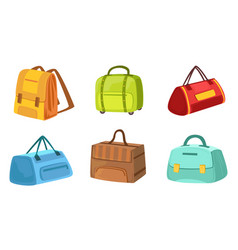 collection suitcases set leather and textile vector image