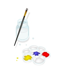 Color Paint in Palette with Brush and Jar vector image