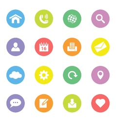 Colorful simple flat icon set 1 on circle vector image